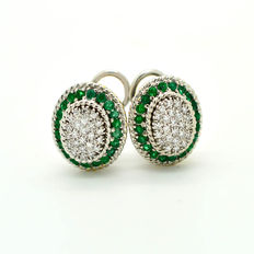 Gold earrings with emeralds and brilliant diamonds 1.60 ct