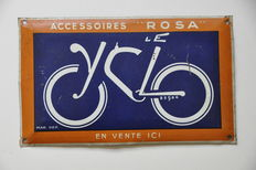 Vintage Advertising Sign - LE CYCLO ROSA Bicycle Accessories - approx. 1930s - 25 x 15 cm