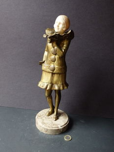 Art Deco sculpture of a girl in gilded bronze-signed Salo