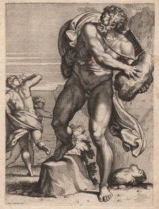 Claude Lefebvre (1632 - 1675) - Polyphemus Throwing a Rock at His Rival, Acis,after the Annibale Carracci fresco at the Farnese Gallery - Circa 1665