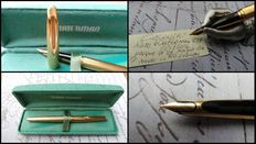 Vintage, rare and beautiful Waterman C/F fountain pen in magnificent condition (Near Mint)-Nib 18 Karat. 750 full gold