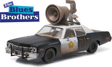 The Blues Brothers - Greenlight - scale 1/43 - Dodge Monaco Bluesmobile 1974 with horn - color black and white