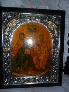 Greek icon Jesus Christ - Agia Triada - Trinity - 1900 Greece