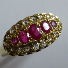 18kt Ruby & Diamond Cluster Ring, This ring is in exceptional condition for its age.