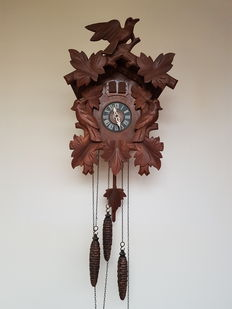 Cuckoo clock with cuckoo and music roll - West Germany, 40s/50s