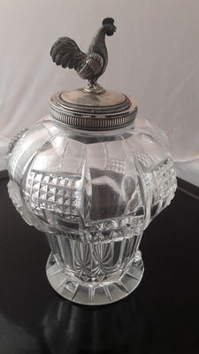 Crystal cut bonbonniere with silver top approx. 1920