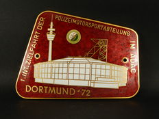Vintage Brass and Enamel ADAC German Police Car Motorsport Auto Badge for 1972 Dortmund Meeting