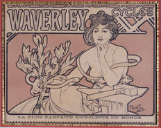 Alphonse Mucha - Waverley Cycles - original lithograph in colour