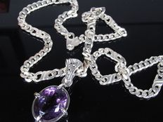Silver chain curb chain with amethyst pendant necklace chain handmade