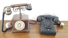 Two vintage phones one in wood and brass and 1 in bakelite