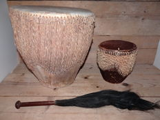 African drums with animal skin