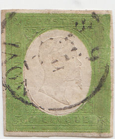 Kingdom of Sardinia – 1854 – 5 cents – Green yellow – Sassone No. 7