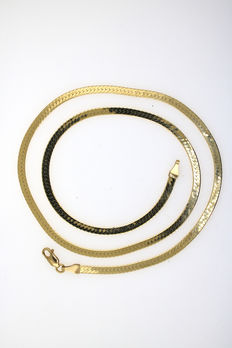 Solid double curb chain made of 750 yellow gold, diamond polished