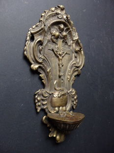 Beautiful holy water font in bronze - France - ca. 1840-1860