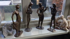 Unknown-bronze sculpture group by 3 musicians with 1 dancer-20th century