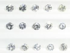 Parcel: 15 brilliant cut diamonds total 0.946 ct E-H vs-si
