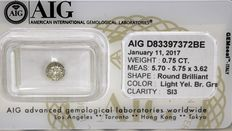 Light Yellowish Brownish Grey diamond – 0.75 ct – SI3 – No reserve price