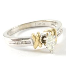 14kt White & Yellow Gold and 0.33 ct Diamond Engagement Ring Size: 7 - O