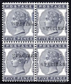 Great Britain 1880 - Queen Victoria Specimen 5d Indigo block of four - Stanley Gibbons 169s
