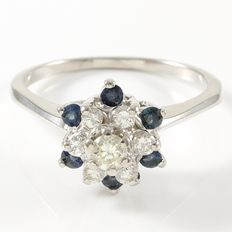 14kt White Gold Ring  Set with Diamonds and Sapphires