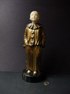 Art Deco image of a Pierrot in gilded bronze-signed Salo