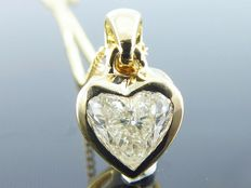 Handmade yellow gold necklace with a 0.70 ct heart cut diamond