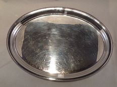 Large silver serving tray with pearl rim - Van Kempen and Begeer - Netherlands - 1981