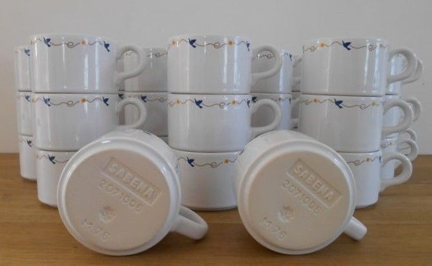 lot of 38 coffee cups by Sabena with design by René Magritte