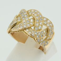 Yellow gold ring 18 kt, set with brilliant cut diamond