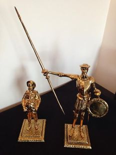 Don Quixote of the Mancha and Sancho Panza in bronze - 1960s