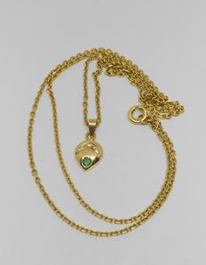 18 kt yellow gold chain necklace and  emerald pendant  – Length: 52 cm –