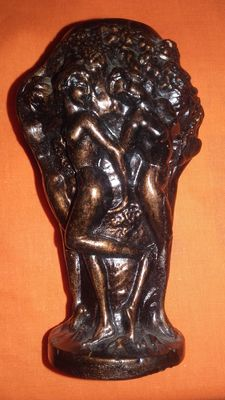 Small vase with naked women underneath grape vines.
