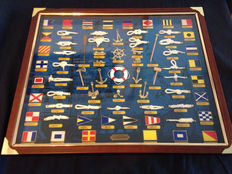 Framed artwork with anchors and knots. 1970