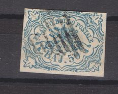 Papal States, 1852 - 50 baj, light blue - Sassone 10