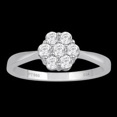 Brand new 7 stone round brilliant diamond cluster engagement ring set in platinum 0.50ct total weight (7 x 0.072ct). G/H colour and VS clarity, stamped 950. Finger size – 17.1 mm/54 (free re-sizing in Antwerp)