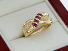 Yellow gold ring – Rubies 0.65 ct – Diamonds 0.18 ct – Ring size: 58 – resizable (± 3 sizes)