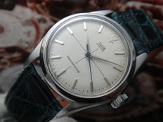 TUDOR OYSTER – Men's ca 1959 - Cross Hair Line with Blue Seconds Hand & Rose Emblem