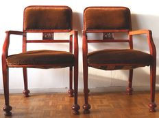 Pair of Art Deco Armchairs with Peony Decoration - 20th Century - France, Belgium
