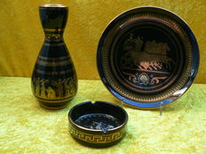 Three - hand painted ceramic Greek pieces with 24 carat gold.