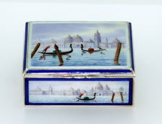Art Deco solid silver & enamel box with Venice city decoration, Silver 935/1000