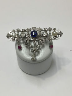 Barrette brooch & pendant in white gold, diamonds, sapphires and rubies totalling 2.20 ct