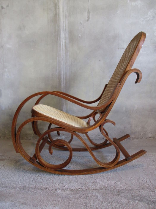 after thonet rocking chair with webbing upholstery catawiki