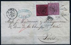 Vatican State – 1868 – 20 centesimi (cents) red/brown and 80 centesimi (cents) pink – #20 – used on letter from Rome to Paris