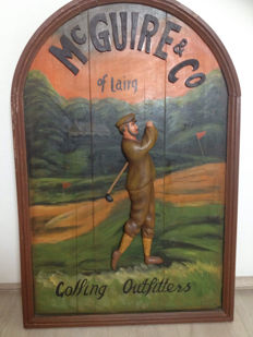 "Vintage Old wooden Golf club Billboard 3D ""Golfing Outfitters"""