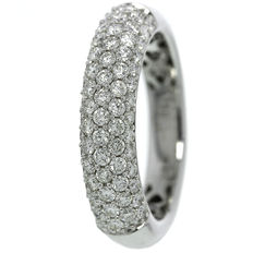White gold women's ring with diamond, 1 ct