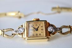 Anker (A. E. Fiedler Stolpen) an antique women's wristwatch solid gold bracelet, approx. 1950/1960. Cleaned and serviced by a jeweller.
