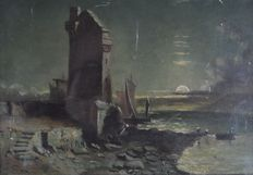 Unknown (19th century) - A moonlit continental harbour