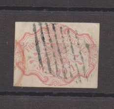 Former Papal States 1852 1 carmine pink shield Saxon 11 cancelled