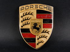Vintage Original Genuine Porsche Bonnet Enamel Badge Code 993 559 211 00 With Original Studs and Gasket Approx 7 cms x 5 cms