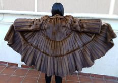 Mink fur coat – geometric pattern – hem length approx. 3.60 m